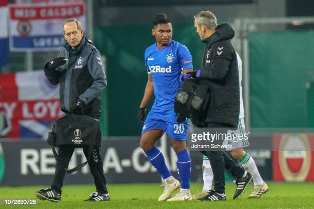 Injured Alfredo Morelos of Rangers during the UEFA Europa League match between Rapid Wien and Rangers at Weststadion on December 13 2018 in Vienna...