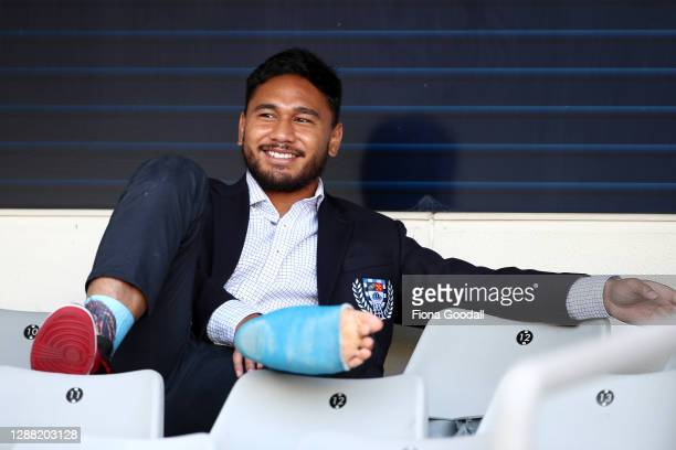 Injured Auckland captain TJ Faiane watches from the stand during the Mitre 10 Cup Final between Auckland and Tasman at Eden Park on November 28, 2020...