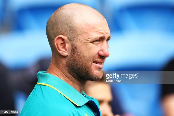 Injured Australian captain James Stannard watches on during Rugby Sevens on day 10 of the Gold Coast 2018 Commonwealth Games at Robina Stadium on...