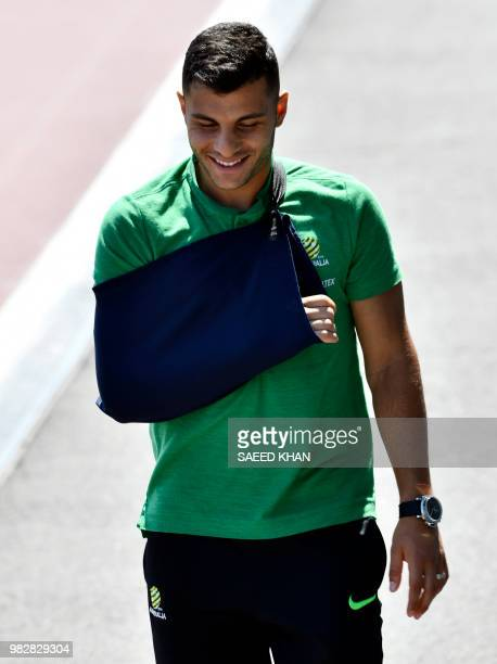 Injured Australia's forward Andrew Nabbout arrives for his team's training session in Kazan on June 24 during the Russia 2018 World Cup football...