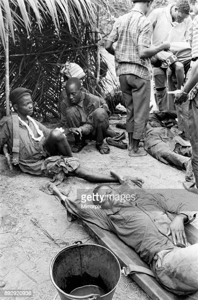 Injured Biafran soldiers seen here recuperating during the Biafran conflict 11th June 1968
