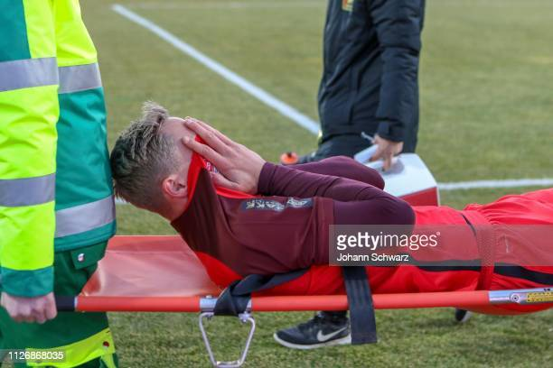injured Bjarne Thoelke of Admira during the tipico Bundesliga match between FC Admira Wacker and FC Wacker Innsbruck at BSFZ Arena on February 23...