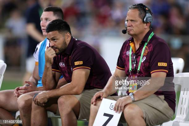 Injured Broncos player Alex Glenn watches on from the bench during the round seven NRL match between the Parramatta Eels and the Brisbane Broncos at...