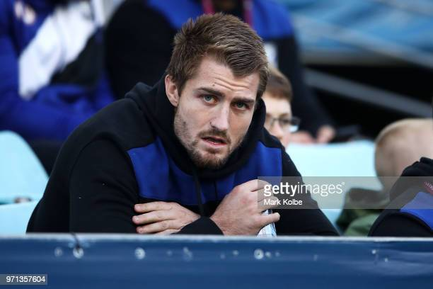 Injured Bulldogs player Kieran Foran watches on from the grandstand during the round 14 NRL match between the Canterbury Bulldogs and the St George...