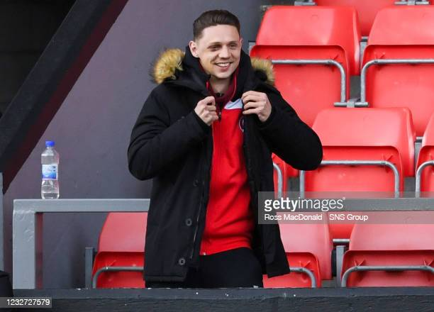 Injured Clyde defender Craig Howie watches on during a Scottish League One match between Clyde and East Fife at Broadwood Stadium, on May 06 in...