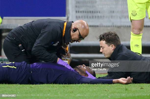 Injured Cuco Martina of Everton has to leave the pitch on a stretcher during the UEFA Europa League group E match between Olympique Lyonnais and...