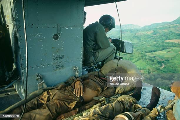 Injured El Salvadoran soldier evacuated by helicopter after battle in eastern Morazan | Location Morazan El Salvador
