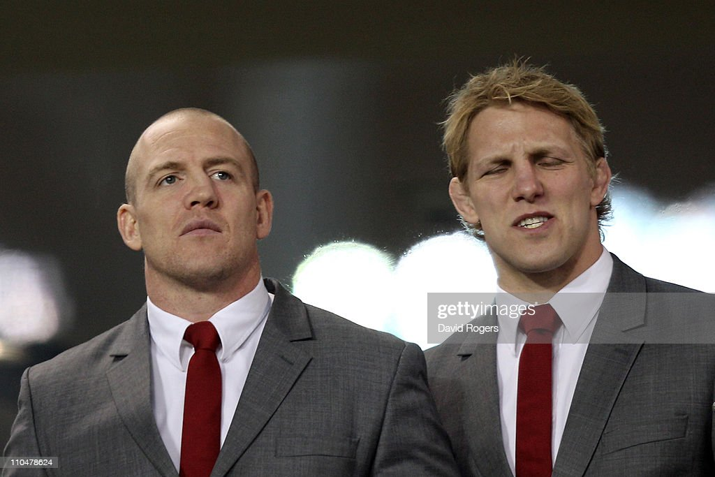 Injured England captains Mike Tindall and Lewis Moody look on as their team heads towards defeat during the RBS 6 Nations Championship match between Ireland and England at the Aviva Stadium on March 19, 2011 in Dublin, Ireland.