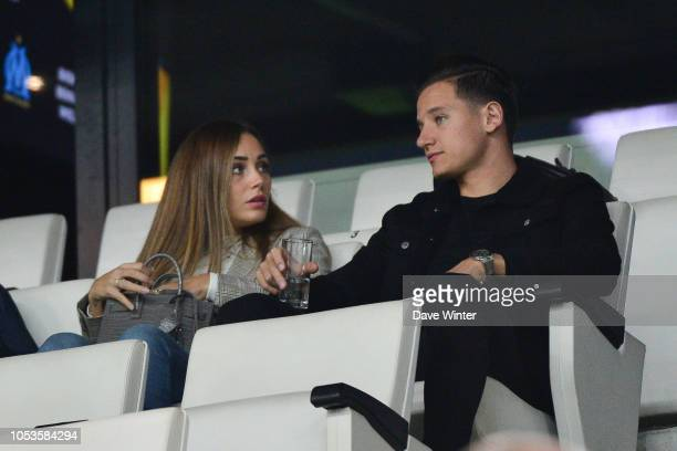 Injured Florian Thauvin of Marseille with his partner Charlotte Pirroni during the UEFA Europa League match between Olympique Marseille and Lazio...