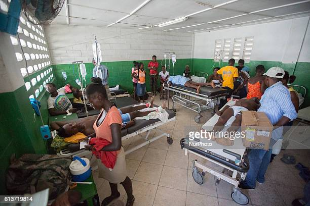 Injured from the hurricane victims from various villages around come to Les Cayes general Hospital Haiti on October 9 2016The number of people killed...