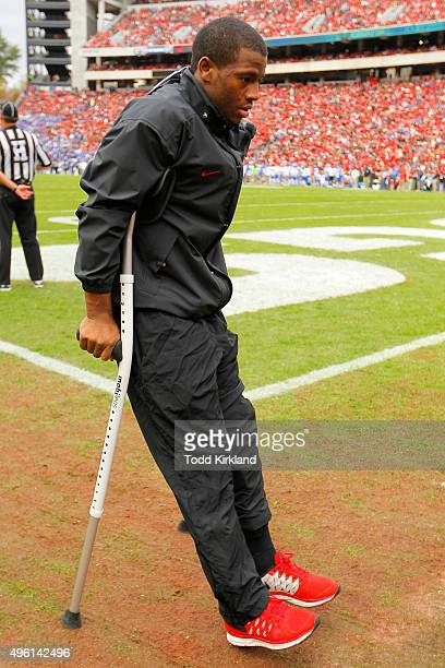 Injured Georgia Bulldogs running back Nick Chubb on the sideline in the second quarter of the game against the Kentucky Wildcats on November 7 2015...