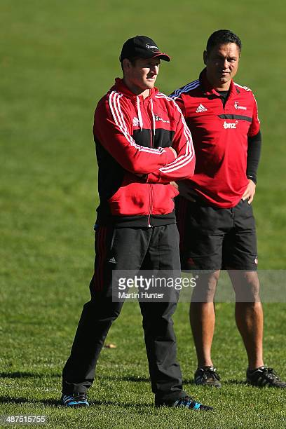 Injured Kieran Read of the Crusaders looks on with assistant coach Tabai Matson during a Crusaders Super Rugby training session at Rugby Park on May...