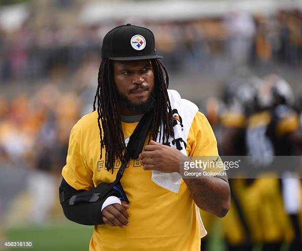 Injured linebacker Jarvis Jones of the Pittsburgh Steelers looks on from the sideline during a game against the Tampa Bay Buccaneers at Heinz Field...