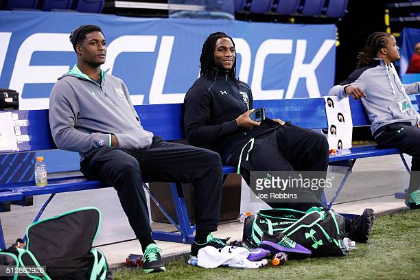 Injured linebackers Myles Jack of UCLA and Jaylon Smith of Notre Dame look on during the 2016 NFL Scouting Combine at Lucas Oil Stadium on February...
