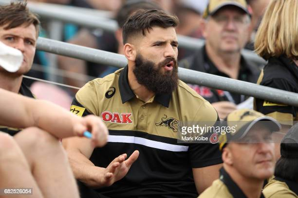 Injured Panthers player Josh Mansour watches on from the grandstand during the round 10 NRL match between the Penrith Panthers and the New Zealand...