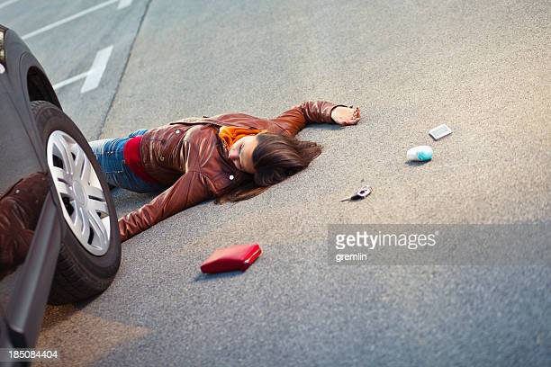 injured pedestrian in a car accident - of dead people in car accidents stock pictures, royalty-free photos & images