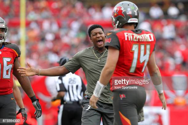 Injured quarterback Jameis Winston is excited for starting quarterback Ryan Fitzpatrick as Fitzpatrick walks back to the sideline after throwing a...