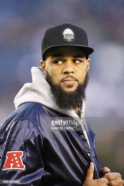 Injured San Diego Chargers wide receiver Keenan Allen stands on the field befor a game against the Chicago Bears at Qualcomm Stadium on November 9...