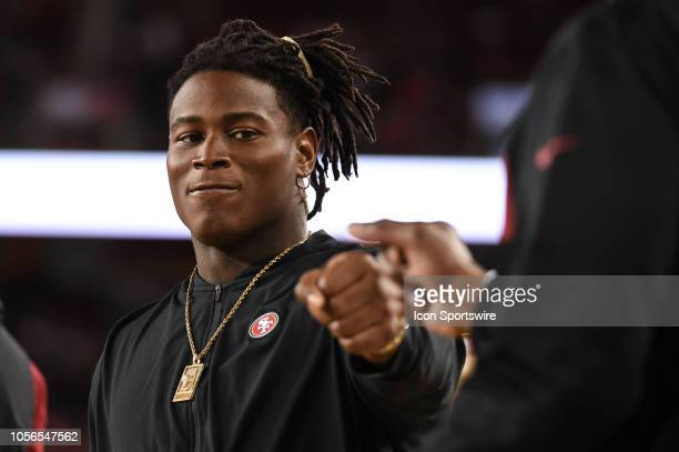 Injured San Francisco 49ers Linebacker Reuben Foster on the sidelines during the NFL football game between the Oakland Raiders and the San Francisco...