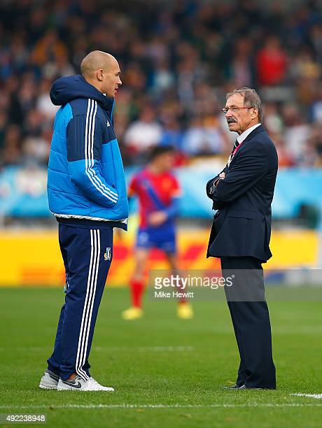 Injured Sergio Parisse of Italy talks to Head Coach Jacques Brunel of Italy prior to the 2015 Rugby World Cup Pool D match between Italy and Romania...