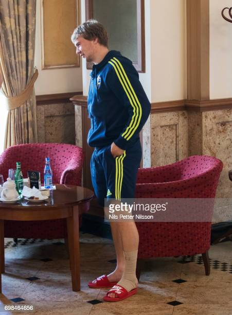 Injured Simon Tibbling of Sweden during the Swedish U21 national team press conference at IBB Grand Hotel Lublinianka on June 20 2017 in Lublin Poland