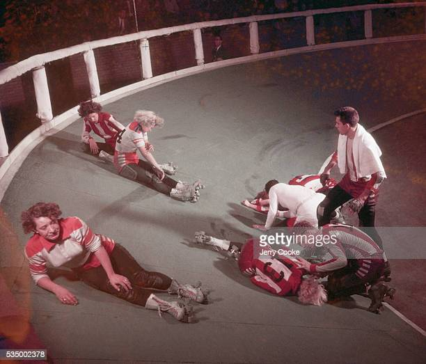 Injured Skaters of a Roller Derby at a Manhattan Armory
