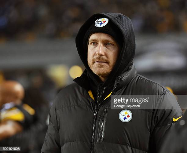 Injured tight end Heath Miller of the Pittsburgh Steelers looks on from the sideline during a game against the Indianapolis Colts at Heinz Field on...
