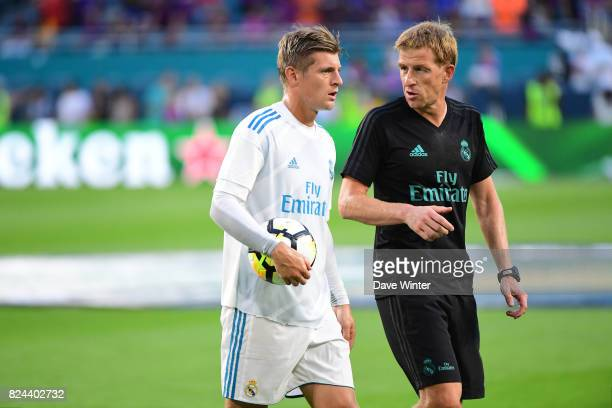 Injured Toni Kroos of Real Madrid does a personal work out before the International Champions Cup match between Barcelona and Real Madrid at Hard...