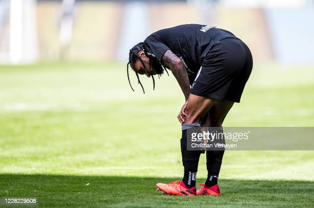 Injured Valentino Lazaro is seen during the PreSeason friendly match between Borussia Moenchengladbach and SpVgg Fuerth at BorussiaPark on August 27...
