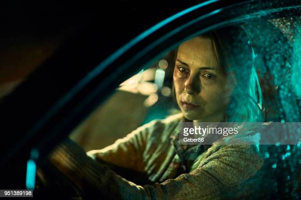 injured woman driving a car - bruise stock pictures, royalty-free photos & images
