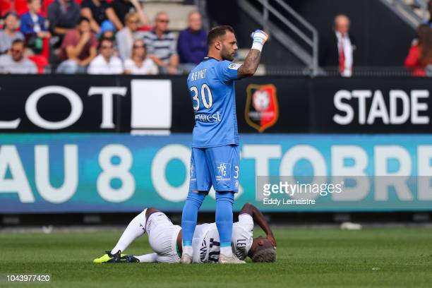 Injury of Aaron Leya Iseka of Toulouse during the Ligue 1 match between Rennes and Toulouse at Roazhon Park on September 30 2018 in Rennes France