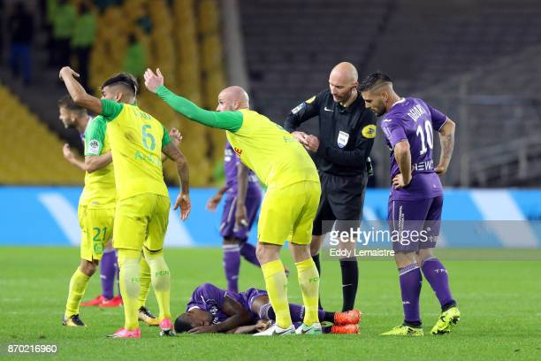 Injury of Wergiton Somalia of Toulouse during the Ligue 1 match between Nantes and Toulouse at Stade de la Beaujoire on November 4 2017 in Nantes