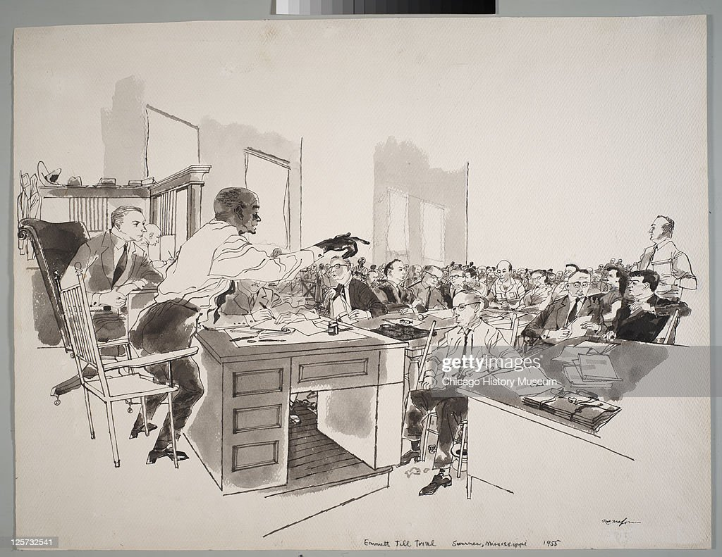Ink and wash illustration shows Moses Wright (also known as Mose Wright, 1892 - 1977) (standing, left) as he points out the accused in open court during the trial of JW Milam and Roy Bryant in the Tallahatchie County Courthouse, Sumner, Mississippi, September 19, 1955. Milam and Bryant were accused of the murder of Emmett Till, a 14-year-old African-American boy from Chicago who had allegedly flirted with Bryant's wife, a white woman; Wright was Till's uncle. At left, is circuit judge Curtis M Swango Jr (1908 - 1968).
