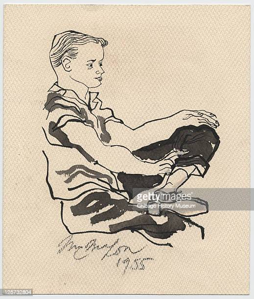 Ink and wash illustration shows prosecution witness Robert Hodges as he testifies during the trial of JW Milam and Roy Bryant in the Tallahatchie...