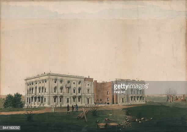 Ink and watercolor drawing by George Munger circa 1814 Drawing shows the ruins of the US Capitol following British attempts to burn the building...