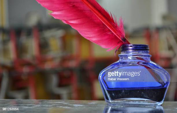 ink bottle and quill - quill pen stock photos and pictures