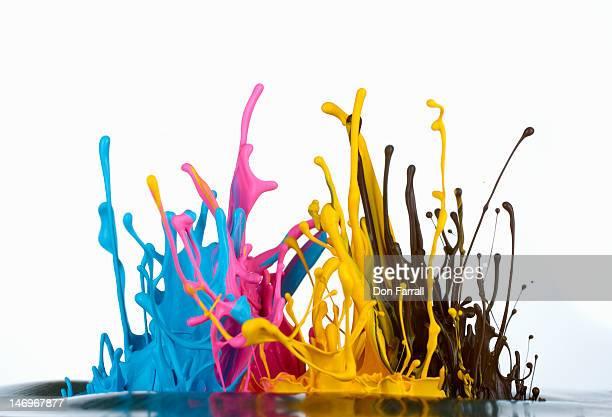 CMYK ink splashing
