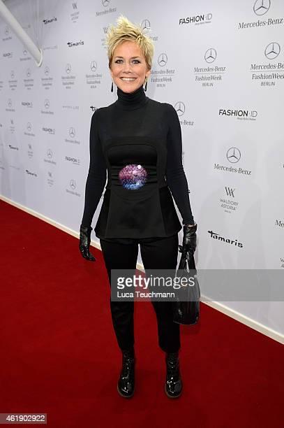 Inka Bause attends the Guido Maria Kretschmer show during the MercedesBenz Fashion Week Berlin Autumn/Winter 2015/16 at Brandenburg Gate on January...