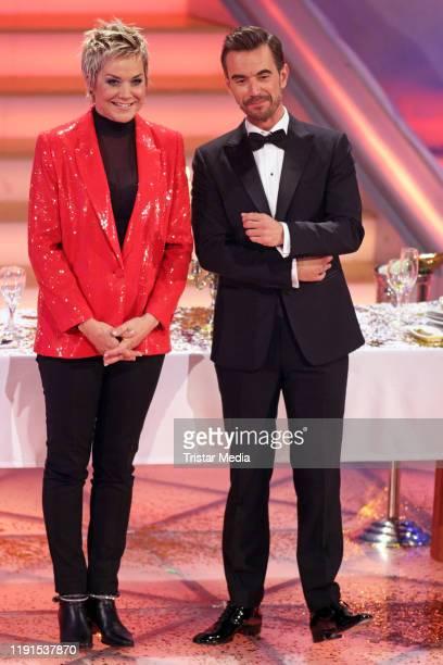 """Inka Bause, Florian Silbereisen during the ARD TV show """"Das Adventsfest der 100.000 Lichter"""" on November 30, 2019 in Suhl, Germany."""