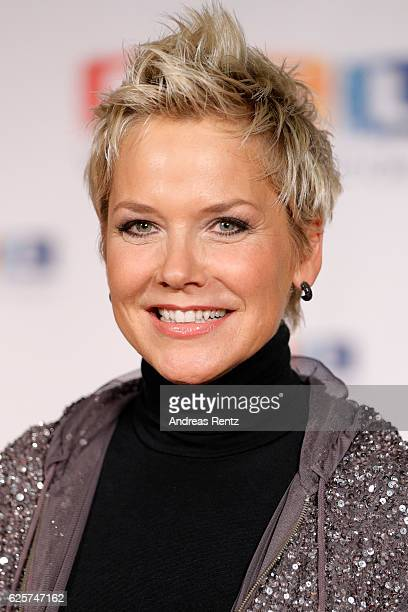 Inka Bause is seen in the studio of the RTL Telethon TV show on November 25, 2016 in Cologne, Germany. The telethon is held every year and is on air...