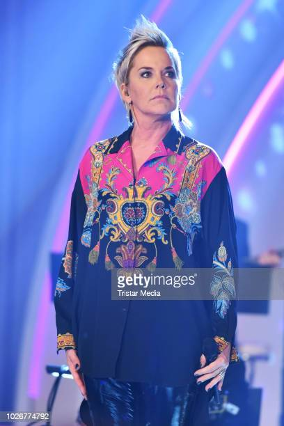 Inka Bause performs the recording of german MDR TV Show 'Kim Fisher presents Kulthits Die Show mit 100 % Livemusik' on September 4 2018 in Leipzig...