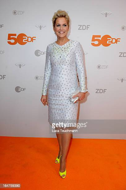 Inka Bause poses on March 27 2013 after a taping of one of the segments of the television program '50 Jahre ZDF' in Berlin Germany The television...