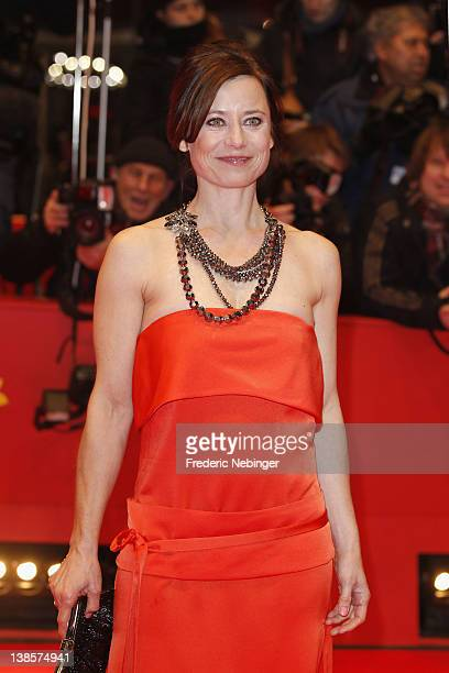 Inka Friedrich attends the Les Adieux De La Reine Premiere during day one of the 62nd Berlin International Film Festival at the Berlinale Palast on...
