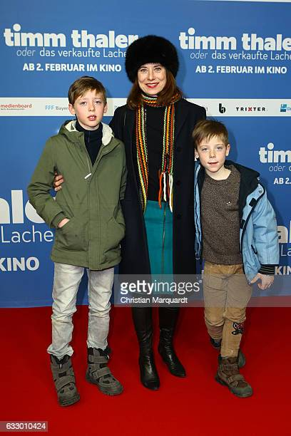 Inka Friedrich escorted by Leonard and Moritz not her kids attends the premiere of 'Timm Thaler oder das verkaufte Lachen' at Zoo Palast on January...