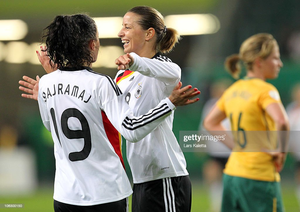 Inka Grings (R) and Fatmire Bajramaj (L) of Germany celebrate a goal during the women's international friendly match between Germany and Australia at Volkswagen Arena on October 28, 2010 in Wolfsburg, Germany.