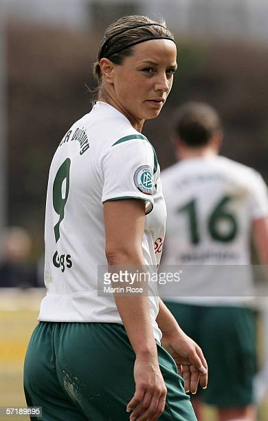 Inka Grings of Duisburg seen during the Women's DFB German Cup semi final match between FCR Duisburg and 1 FFC Frankfurt on March 26 2006 in Duisburg...