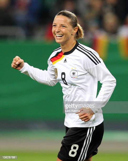 Inka Grings of Germany celebrates her team's goal during the women's international friendly match between Germany and Australia at Volkswagen Arena...