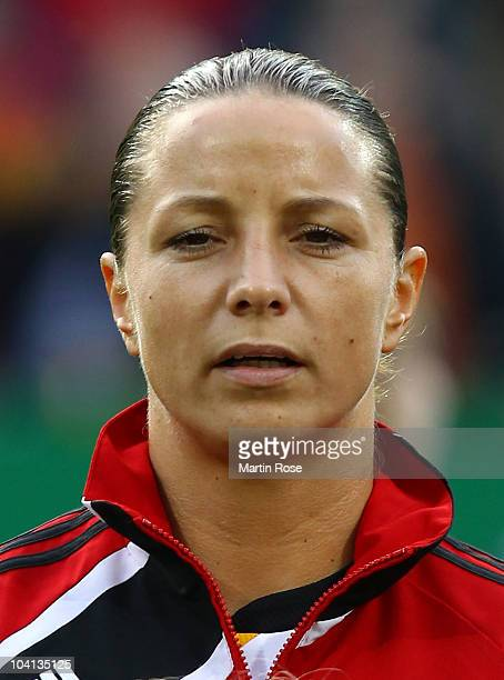 Inka Grings of Germany poses prior to the Women's International Friendly match between Germnay and Canada at Rudolf Harbig stadium on September 15,...