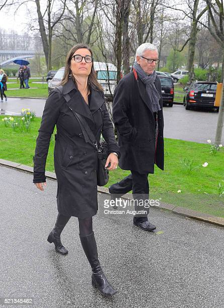 Inka Schneider attends the memorial service for the deceased singer Roger Cicero on April 15 2016 in Hamburg Germany Cicero died on March 24 2016...
