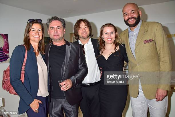 Inka Schneider Marco Mannozzi Alessandro Rinella Hanna Rinella and Johannes von Duisburg during the Marco Mannozzi store and makeup studio opening at...